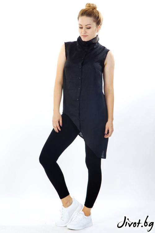 Черна асиметрична риза от лен / Модна къща АМБИЦИЯ