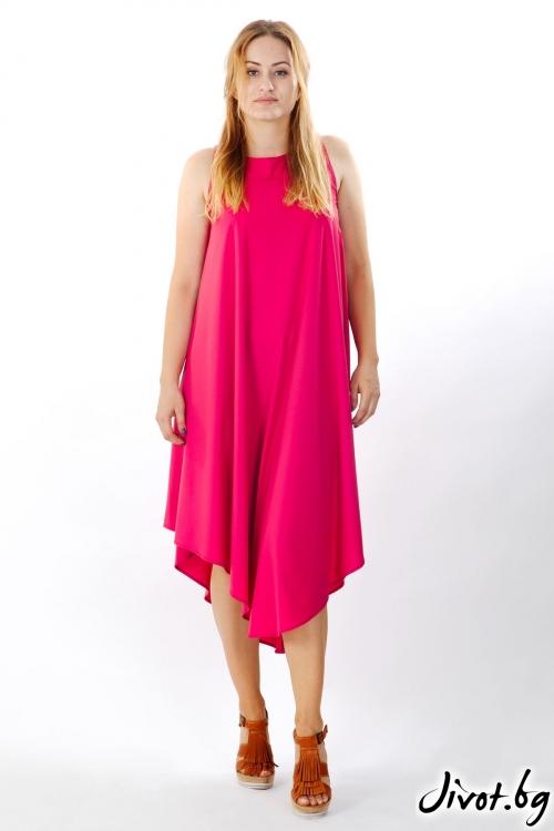 Ефирна дълга розова рокля / FABRA MODA STUDIO