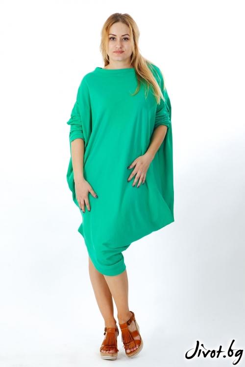 Зелена асиметрична рокля / FABRA MODA STUDIO