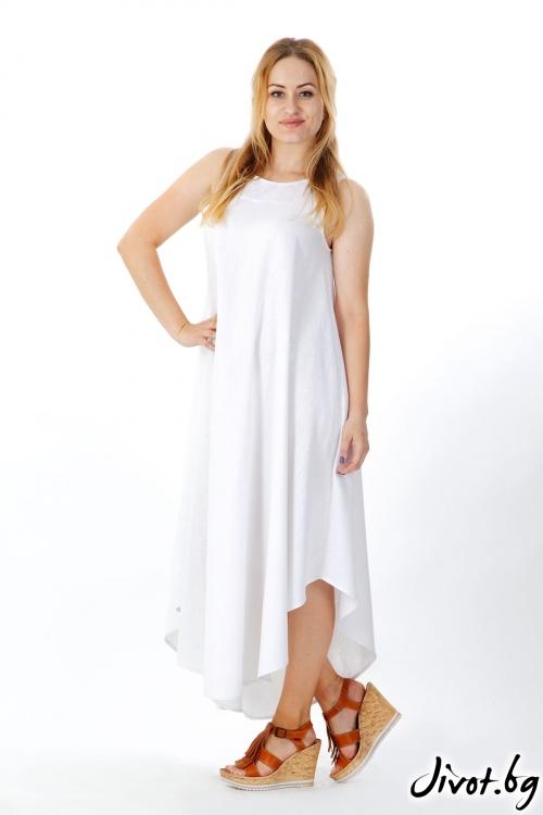 Дълга бяла ленена рокля / FABRA MODA STUDIO