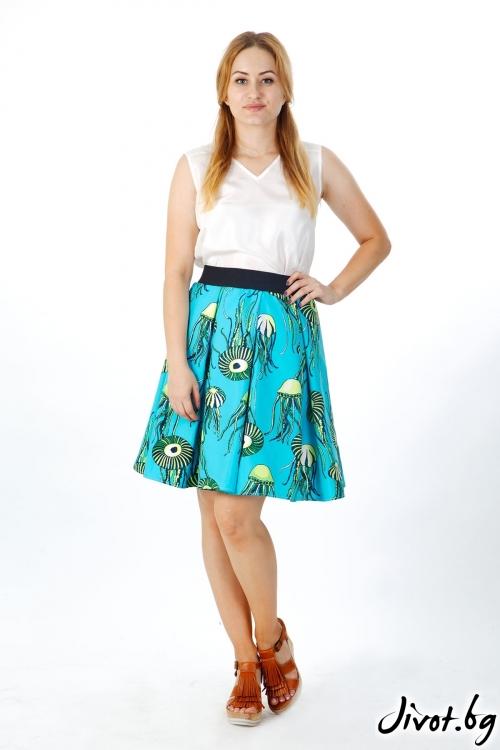 Синя пола от сатениран памук / FABRA MODA STUDIO