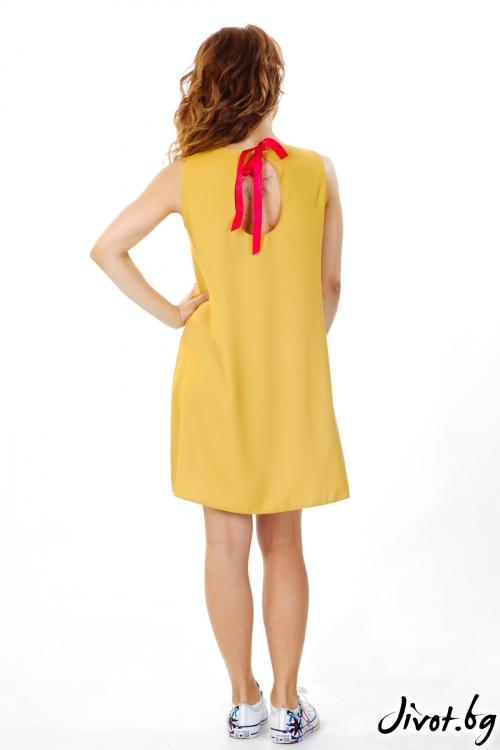 "Дамска рокля цвят горчица ""Череши"" / MyMagenta"