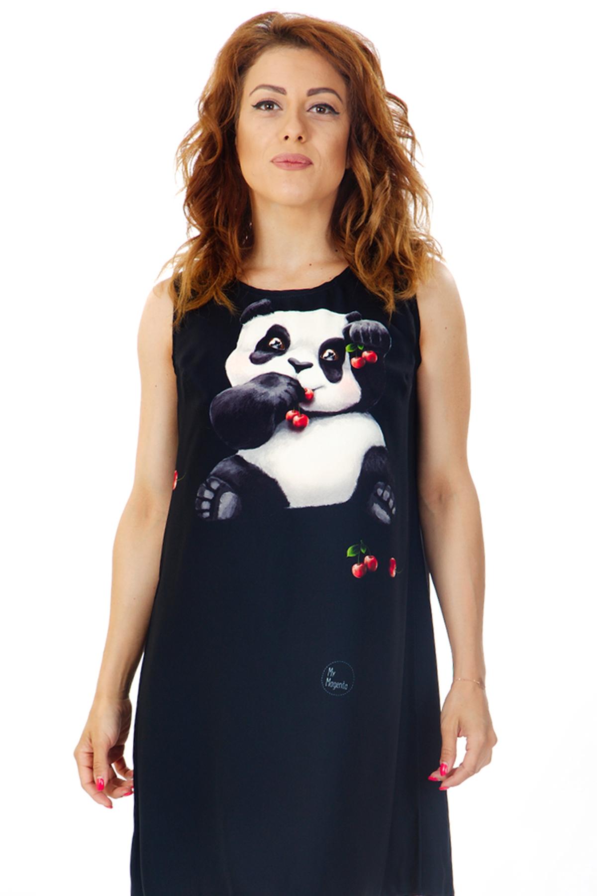 """Къса рокля с дизайнерски принт """"Панда"""" / MyMagenta"""