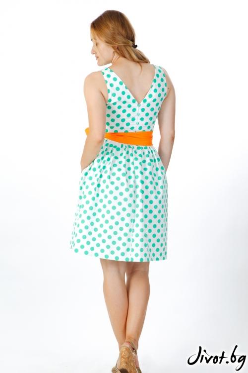 Дамска рокля в цвят мента с бели точки / VERNE