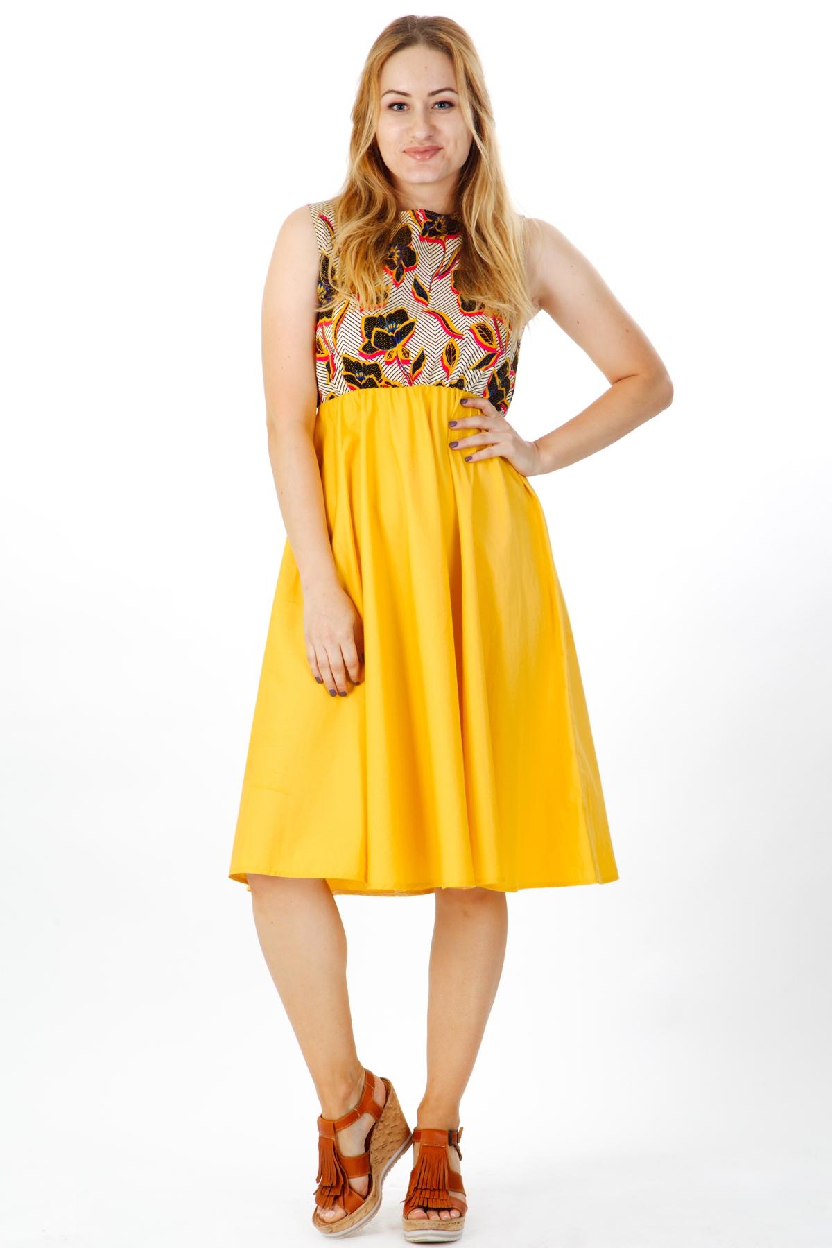 Дамска рокля в цвят горчица / VERNE