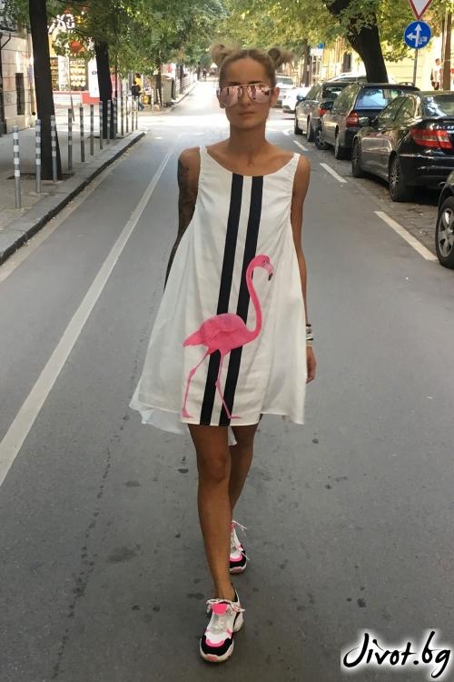 Разкроена рокля с принт фламинго / Cherry You