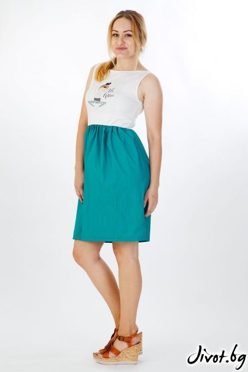 Дамска рокля с щампа и разкроена долна част / VЯRA за MUSE SHOP