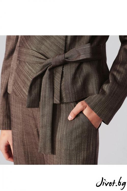 Късо сако с колан и широко прехлупване / Lila Style House