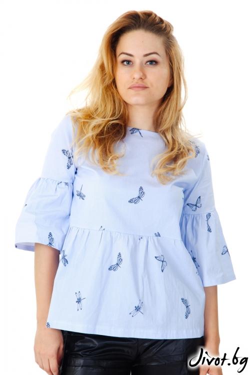 Синя блуза с водни кончета / VЯRA за MUSE SHOP