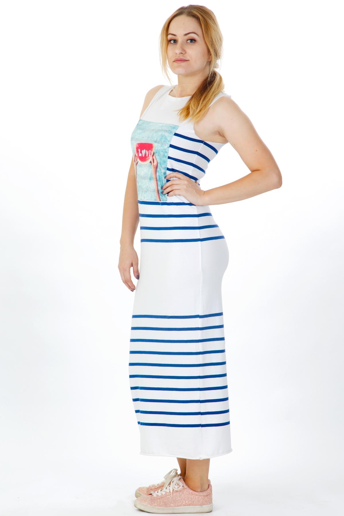 Дълга рокля със щампа диня / VЯRA за MUSE SHOP
