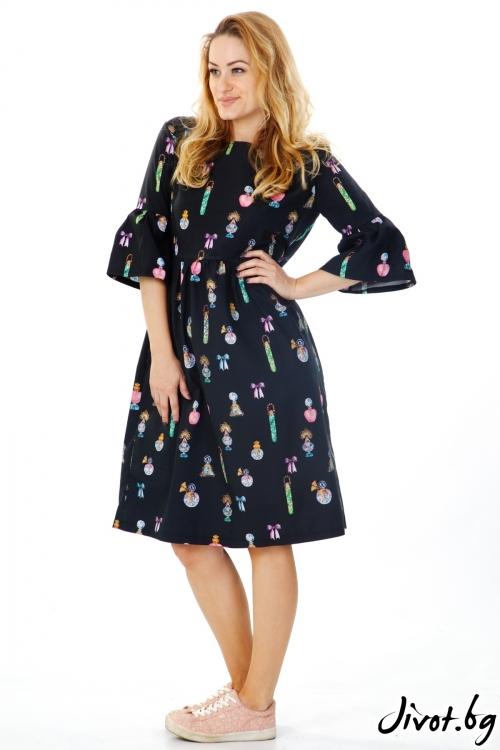 Черна рокля със щампа / VЯRA за MUSE SHOP