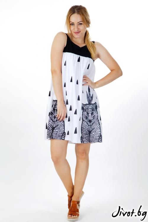 Черно-бяла рокля с мечета / VЯRA за MUSE SHOP