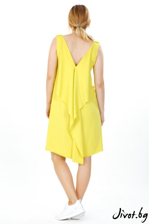 Слънчево жълта рокля със щампа / VЯRA за MUSE SHOP