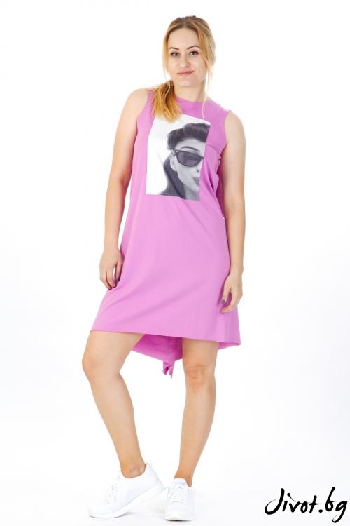 Дамска розова рокля с черно-бяла щампа / VЯRA за MUSE SHOP