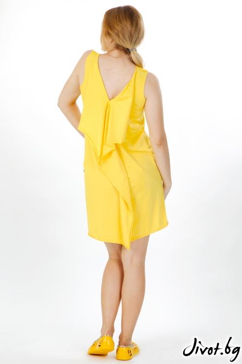 Дамска рокля в жълто и с фешън щампа / VЯRA за MUSE SHOP