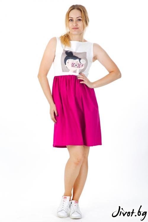 Дамска рокля с щампа и цикламена долна част / VЯRA за MUSE SHOP