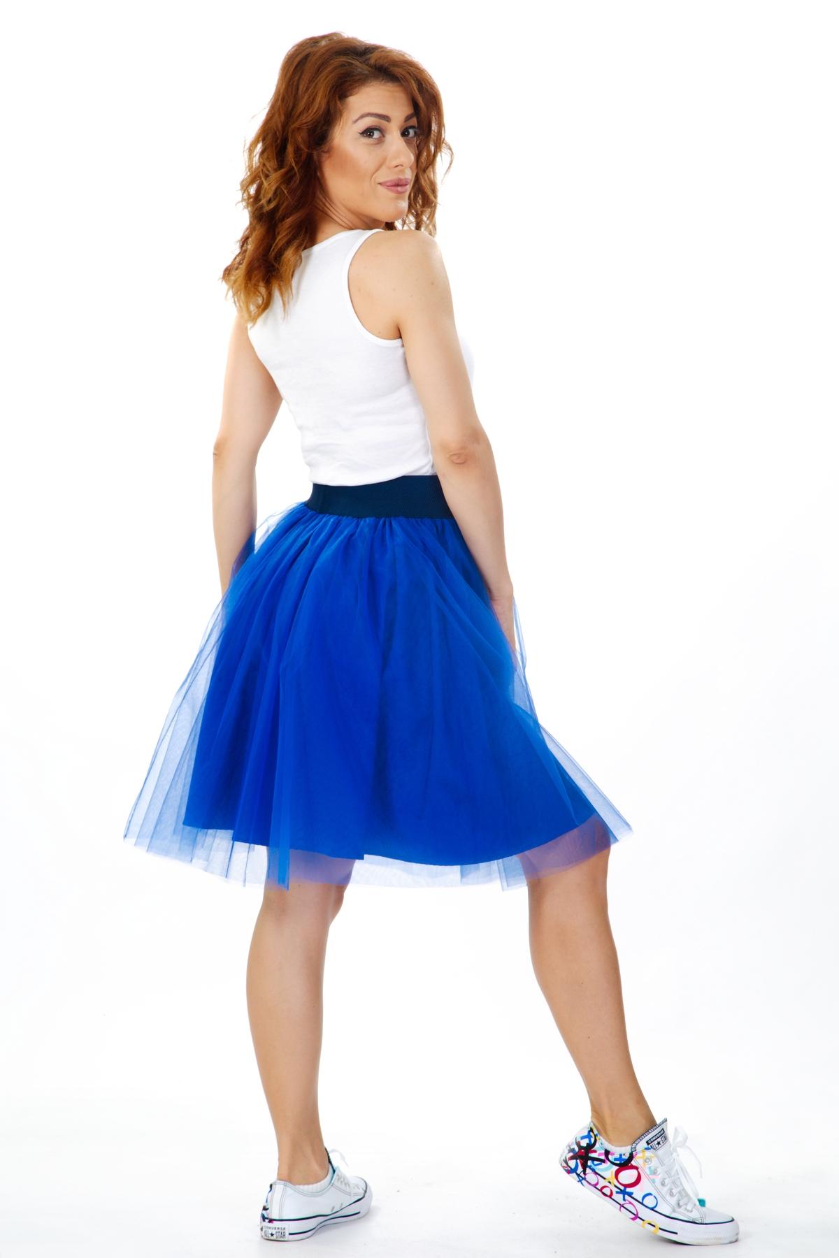 Къса дамска пола от син тюл / ShuShi