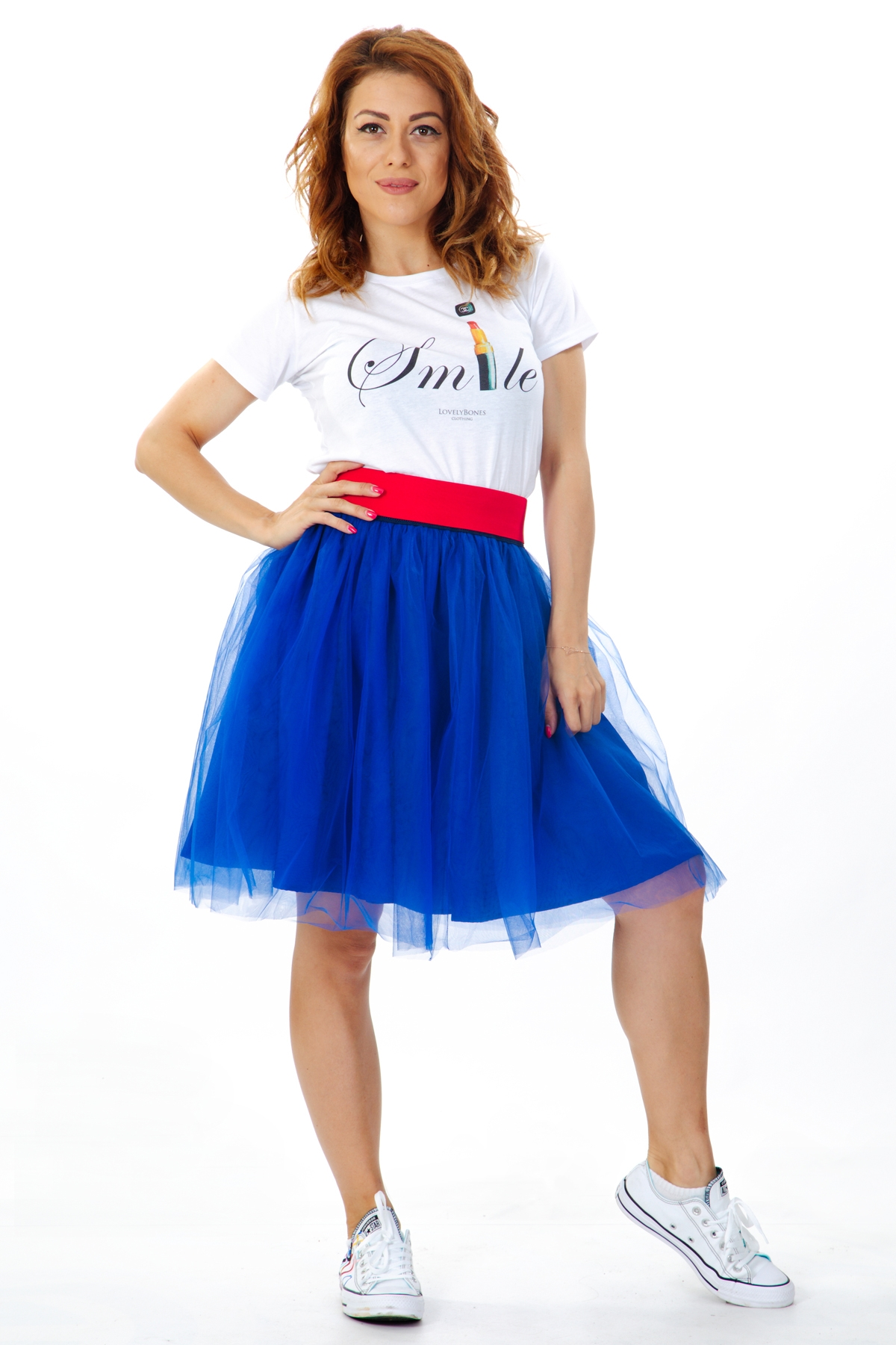 Дамска пола от син тюл с червен ластик на талията / ShuShi