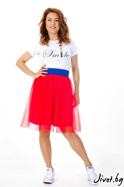 Червена пола от тюл / ShuShi