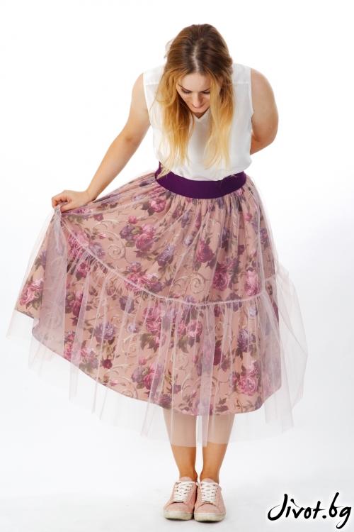 Красива пола с флорален мотив и тюл