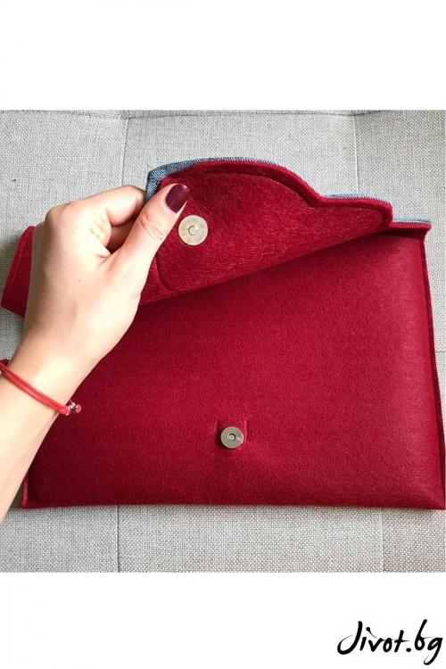 "Червена чанта за лаптоп или таблет с ""Крило"" / EMVy"