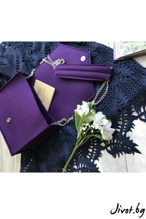 Дамска чанта с ръчно рисуван сладолед в лилаво / EMVy