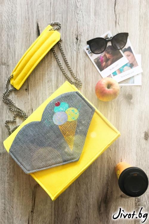 Дамска чанта с ръчно рисуван сладолед в жълто / EMVy