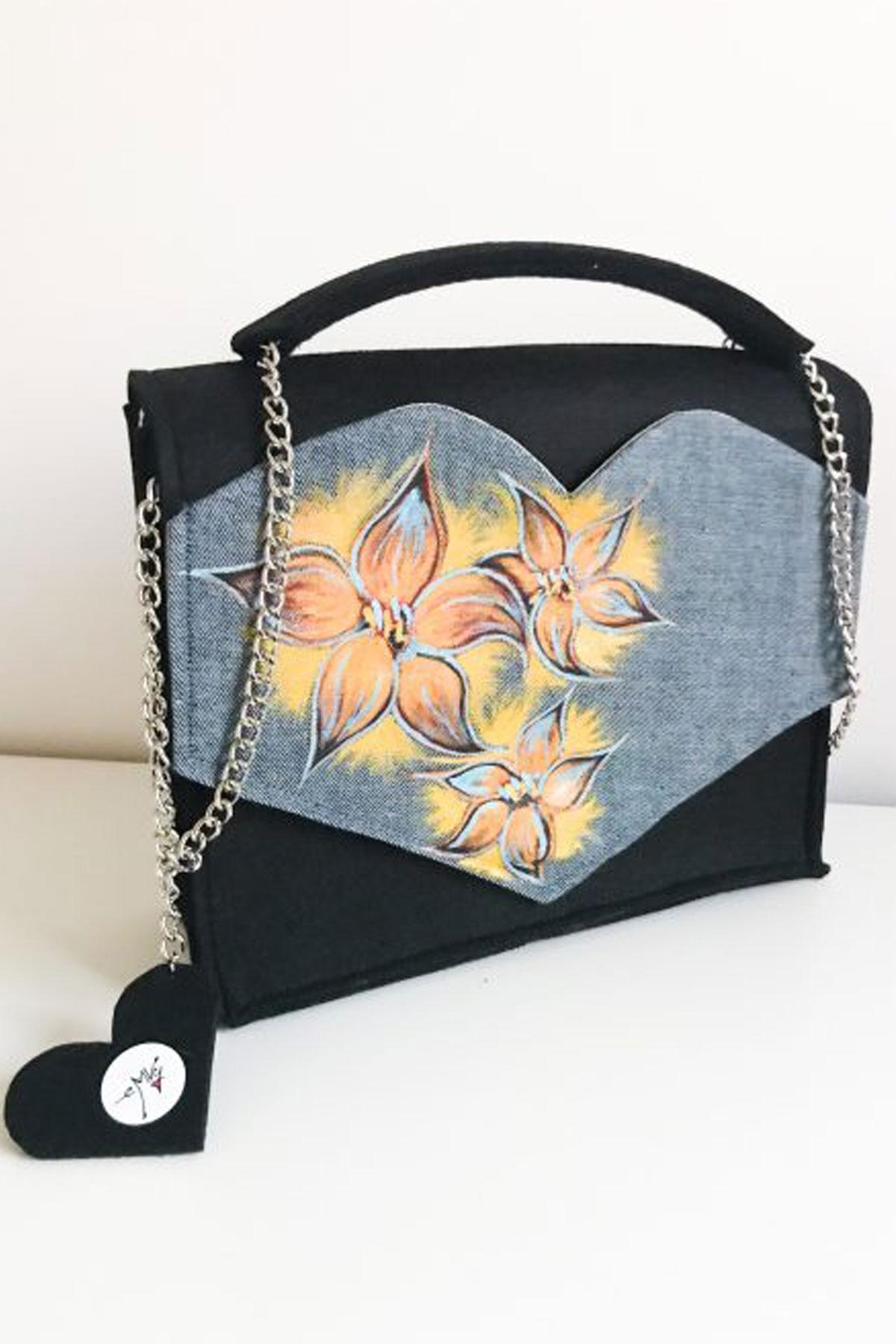 """Черна чанта с ръчно рисувани """"Слънчеви цветя"""" / EMVy"""