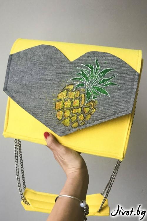 Жълта чанта с ръчно рисуван ананас / EMVy