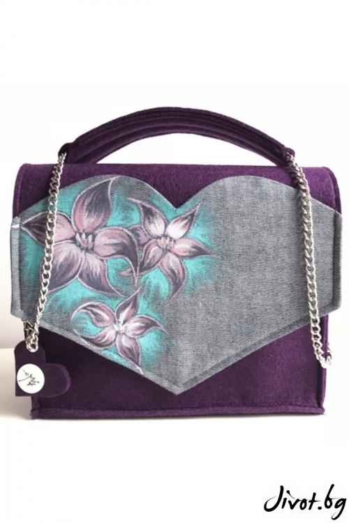"""Лилава ръчно рисувана чанта """"Цветна магия"""" / EMVy"""