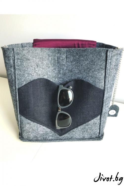 """Дамска чанта в сиво и джоб """"Сърце"""" / EMVy"""