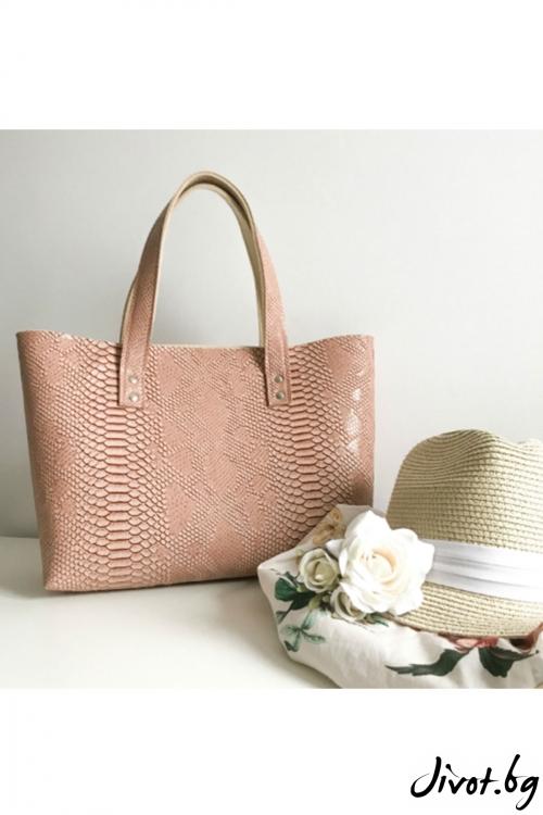 Пастелено розова чанта от изкуствена кожа и филц / EMVy