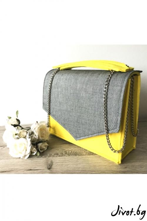 Жълта чанта с дънков капак и метална верижка / EMVy