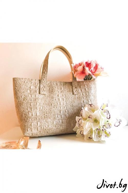 Бежова чанта от декоративна кожа и филц / EMVy