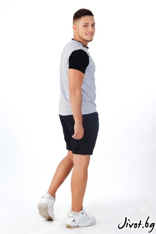 Мъжка тениска от трико с дизайнерски принт / OTIVA
