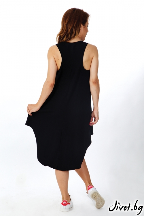Дамска черна рокля без ръкави / OTIVA