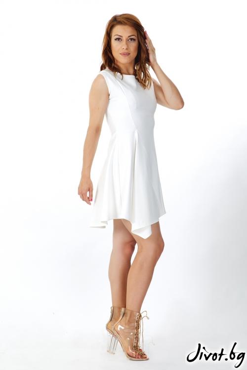 Дамска къса рокля в бяло / OTIVA