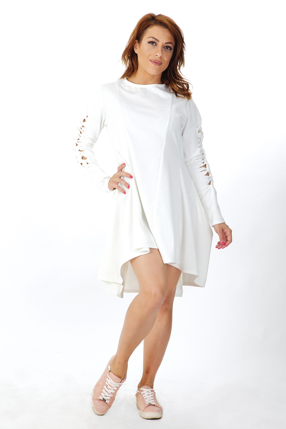 Дамска бяла рокля с дълги ръкави / OTIVA
