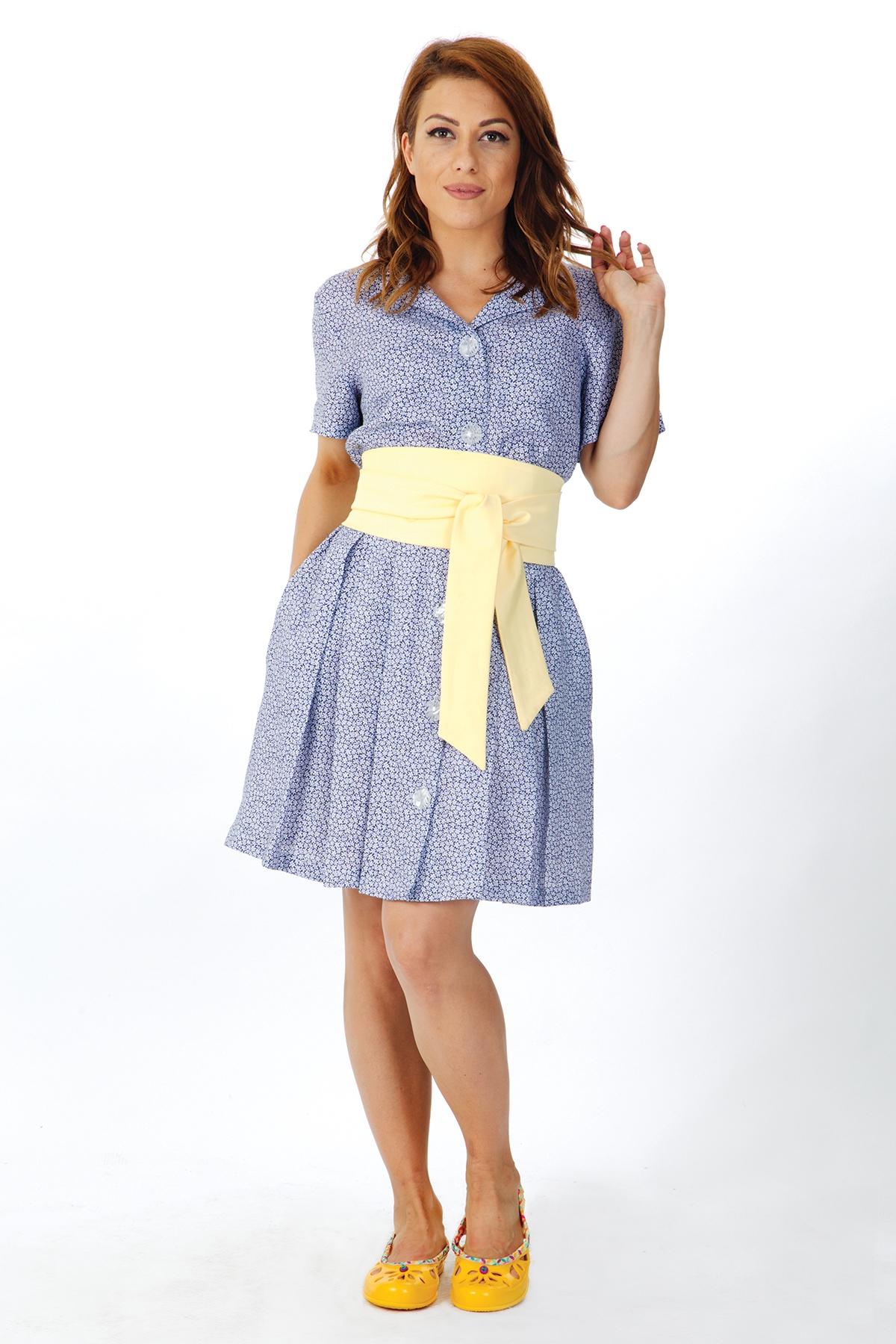 Дамска синя рокля с жълт колан / OTIVA