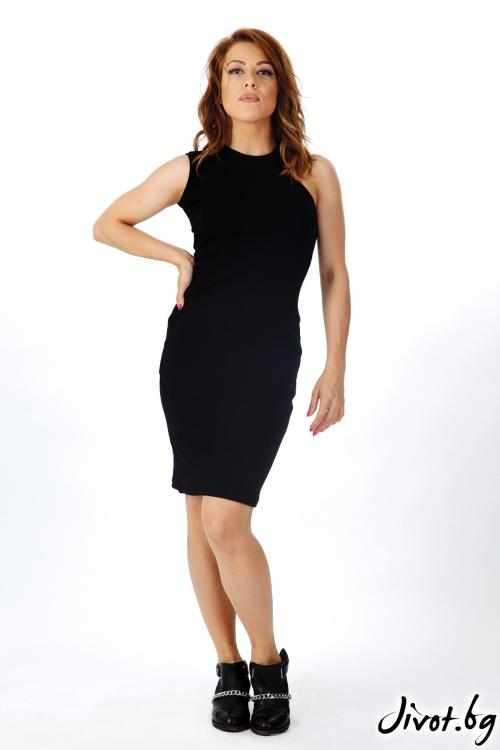 Дамска черна рокля по тялото / OTIVA