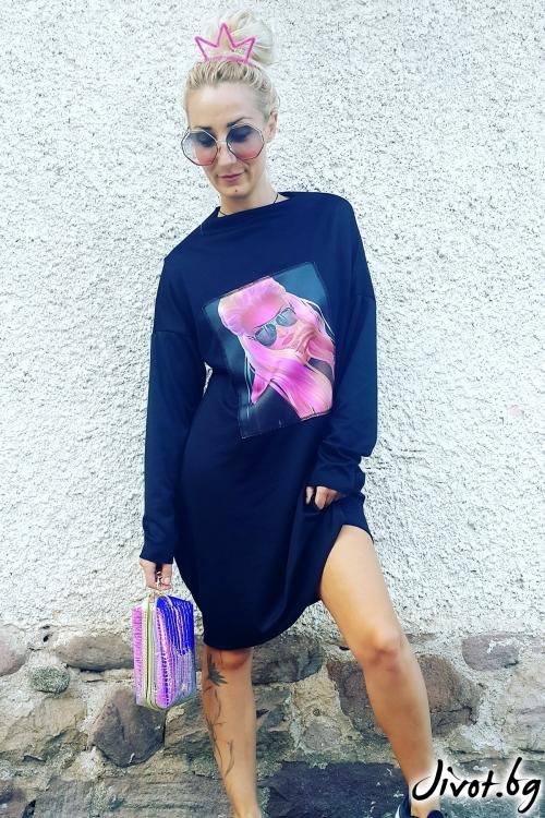 Дамска черна рокля с дизайнерска щампа / Jeni&Migla