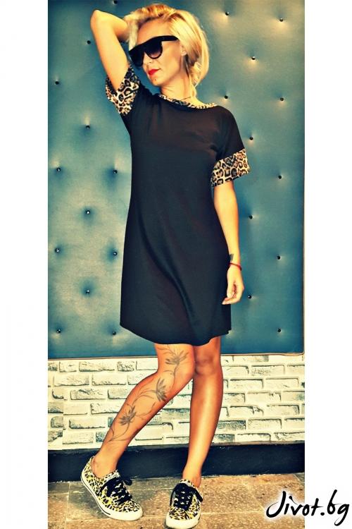 Дамска черна рокля с леопардови елементи / Jeni&Migla