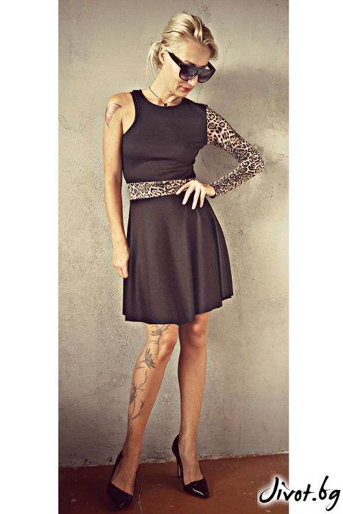 Дамска черна рокля с един ръкав / Jeni&Migla