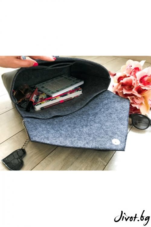 """Дамска чанта от декоративна кожа и филц """"Сахара"""" / EMVy"""