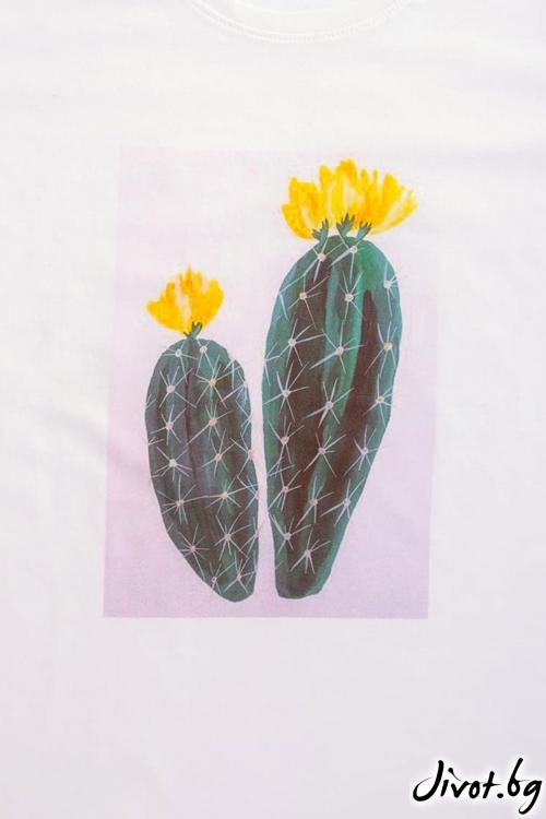 Бяла тениска с кактуси / VЯRA за MUSE SHOP
