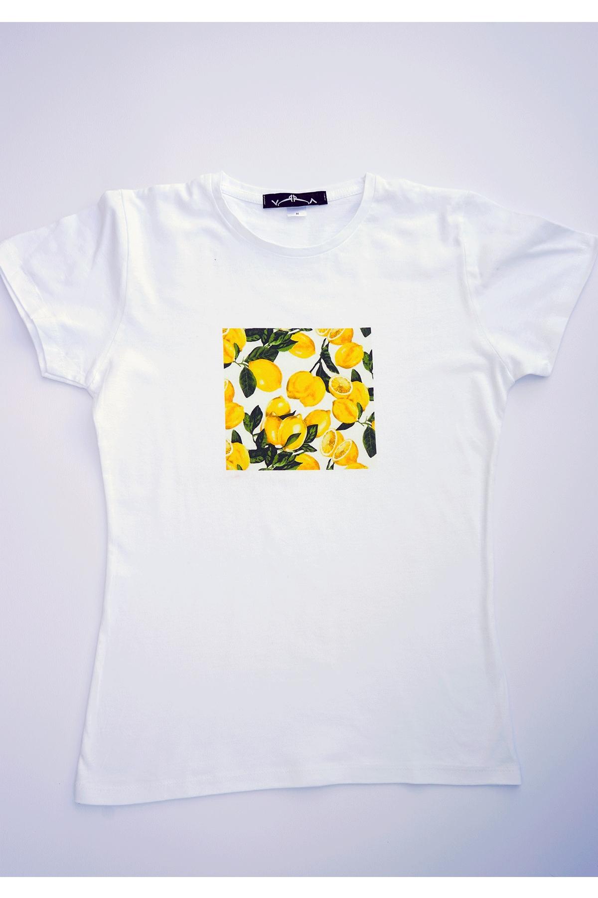 Бяла тениска лимонена авантюра / VЯRA за MUSE SHOP