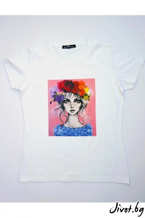 Бяла тениска цветовете на красотата / VЯRA за MUSE SHOP