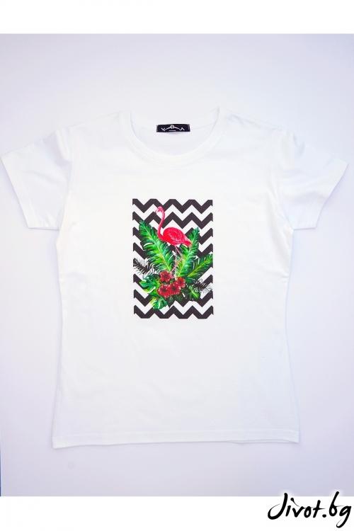 Бяла тениска Фламинго / VЯRA за MUSE SHOP