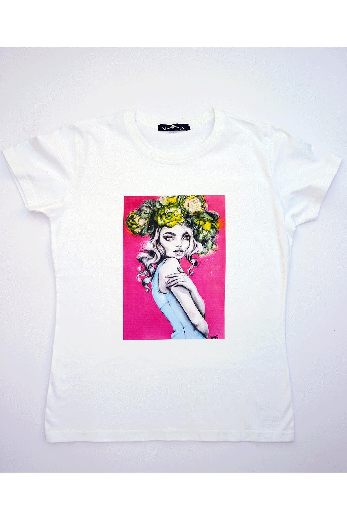 Бяла тениска Невинна красота / VЯRA за MUSE SHOP