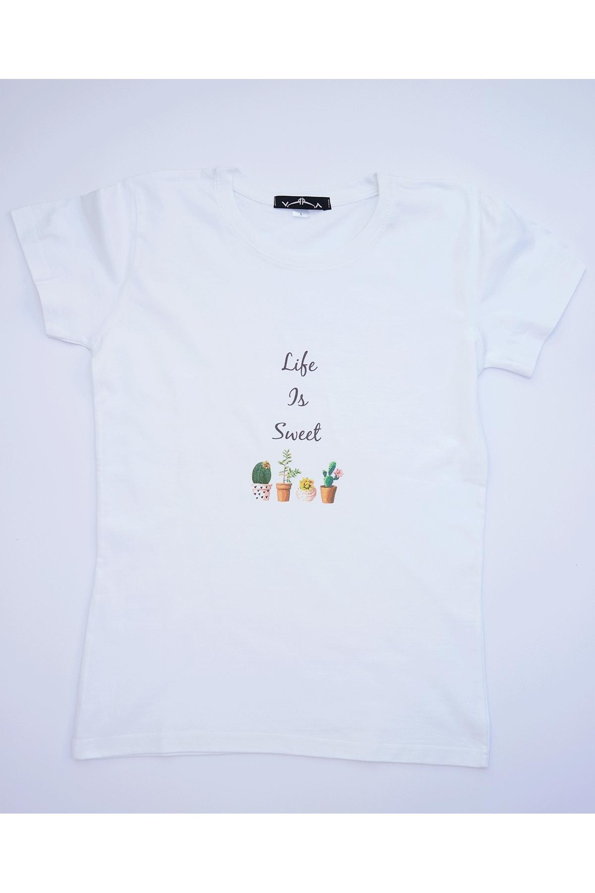 Бяла тениска Life is Sweet / VЯRA за MUSE SHOP